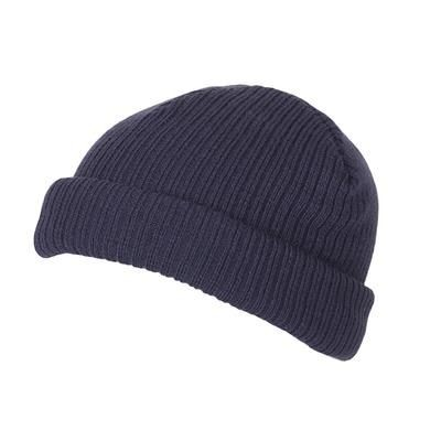 Picture of 100% SHORT FIT ACRYLIC RIBBED BEANIE HAT in Navy Blue with Turn-up