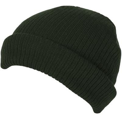 Picture of 100% SHORT FIT ACRYLIC RIBBED BEANIE HAT in Olive Green with Turn-up