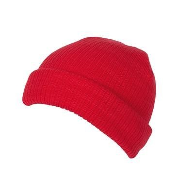 Picture of 100% SHORT FIT ACRYLIC RIBBED BEANIE HAT in Red with Turn-up