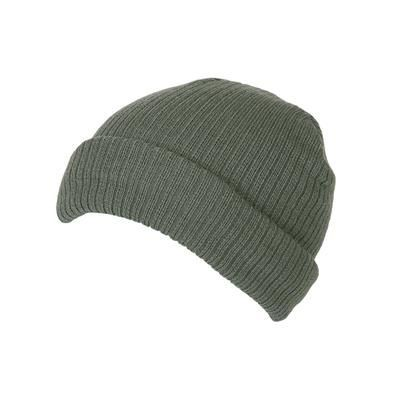 Picture of 100% SHORT FIT ACRYLIC RIBBED BEANIE HAT in Sage Green with Turn-up