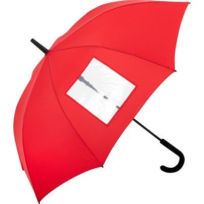 Picture of SPECIAL AUTOMATIC REGULAR UMBRELLA with Clear Transparent Window in Red