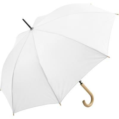 Picture of SUSTAINABLE AUTOMATIC REGULAR UMBRELLA with Cover in White