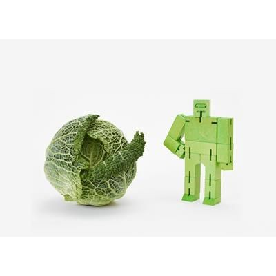 Picture of CUBEBOT SMALL WOOD ROBOT PUZZLE in Green