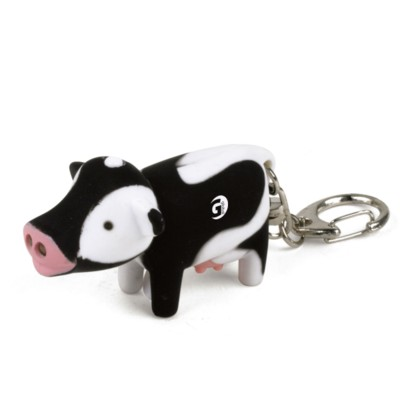 Picture of MOO COW KEYHOLDER KEYRING in Black & White