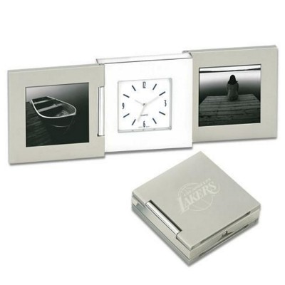 Picture of METAL DESK CLOCK AND PHOTO FRAME in Silver