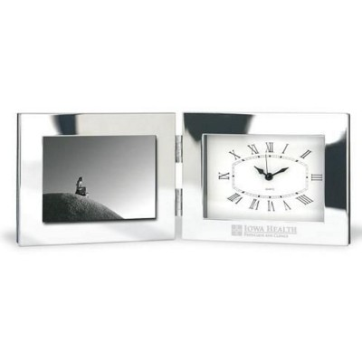 METAL DESK CLOCK AND PHOTO FRAME in Silver