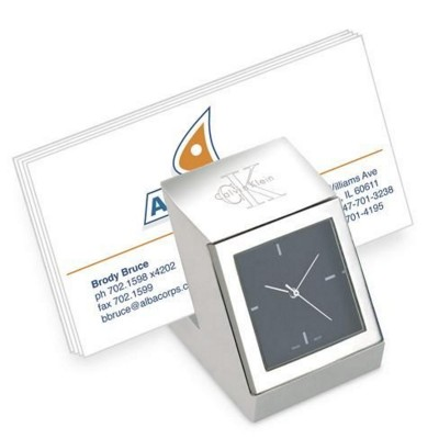 Picture of METAL DESK CLOCK AND BUSINESS CARD HOLDER in Silver