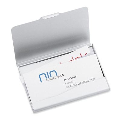 Picture of ALUMINIUM SILVER METAL BUSINESS CARD OR CREDIT CARD HOLDER CASE