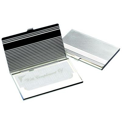 Picture of RIBBED SILVER PLATED METAL BUSINESS CARD OR CREDIT CARD CASE