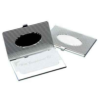 Picture of OVAL SILVER PLATED METAL BUSINESS CARD OR CREDIT CARD CASE