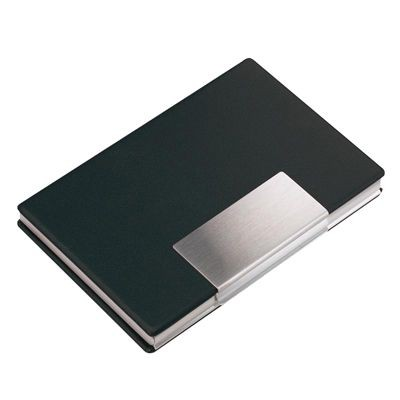Picture of ALUMINIUM SILVER METAL BUSINESS CARD OR CREDIT CARD HOLDER CASE with Vinyl Cover