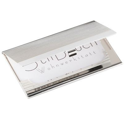 Picture of RIBBED SILVER CHROME METAL BUSINESS CARD OR CREDIT CARD CASE