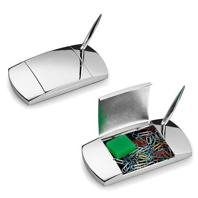 Picture of SILVER PLATED METAL PEN STAND AND DESK TIDY ORGANIZER