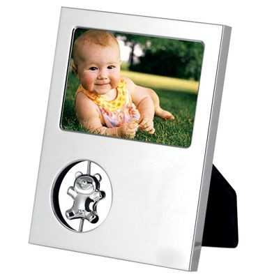 Picture of METAL PHOTO FRAME in Silver with Teddy Bear