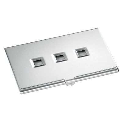 Picture of METAL BUSINESS CARD HOLDER in Silver with Squares