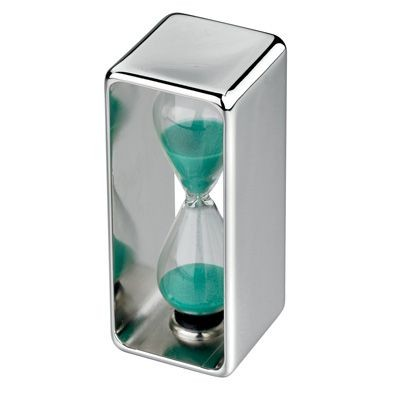 Picture of METAL HOURGLASS in Silver with Green Sand