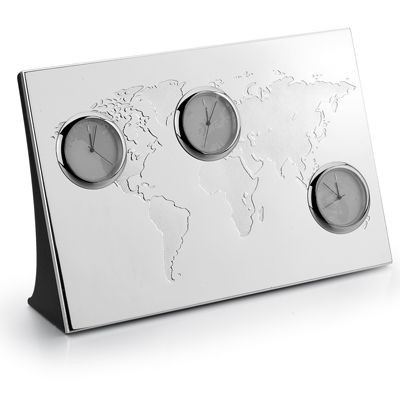 Picture of WORLD TIME METAL CLOCK in Silver