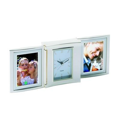 LIBRA METAL DESK CLOCK & PHOTO FRAME in Silver