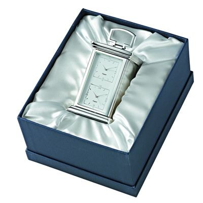 Picture of SECRETS DOUBLE TIME DESK CLOCK in Silver