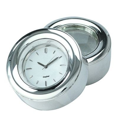 Picture of DUO METAL DESK CLOCK with Magnifier in Silver