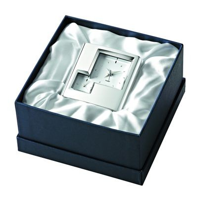 Picture of SPACE DOUBLE TIME METAL DESK ALARM CLOCK in Silver