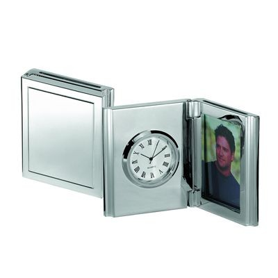 MEMORIES METAL DESK CLOCK & PHOTO FRAME in Silver