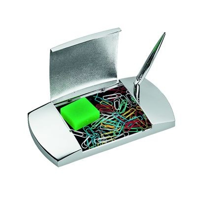 Picture of JUMBO METAL PEN HOLDER & PAPERCLIP DISPENSER in Silver