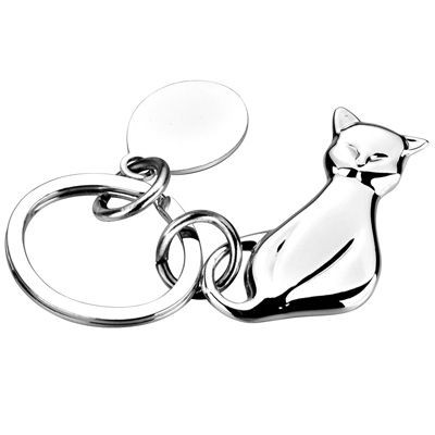 Picture of METAL CAT KEYRING in Silver