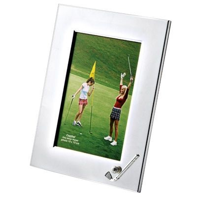 Picture of METAL GOLF PHOTO FRAME in Silver with Wood Back