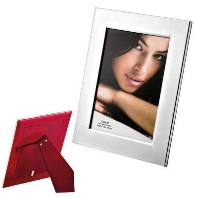 Picture of METAL PHOTO FRAME in Silver with Wood Back
