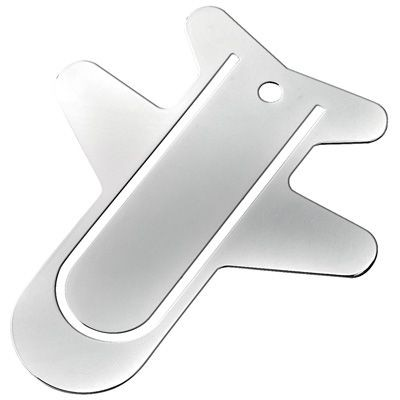 Picture of SMALL METAL AEROPLANE BOOKMARK in Silver