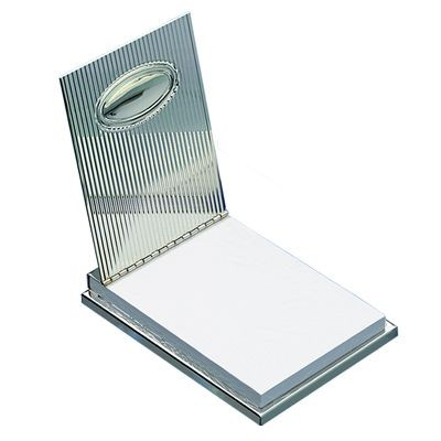 Picture of OVAL METAL DESK MEMO CUBE BLOCK NOTE PAD HOLDER in Silver