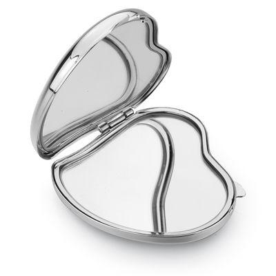 Picture of HEART DOUBLE RECTANGULAR METAL LADIES HANDBAG COMPACT MIRROR in Silver