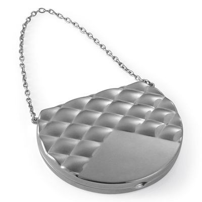 Picture of HANDBAG SHAPE METAL LADIES COMPACT MIRROR with Chain in Silver