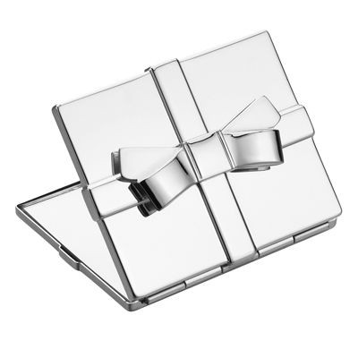 Picture of RECTANGULAR METAL LADIES COMPACT MIRROR with Bow in Silver