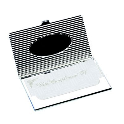 Picture of OVAL DESIGN METAL POCKET BUSINESS CARD HOLDER in Silver