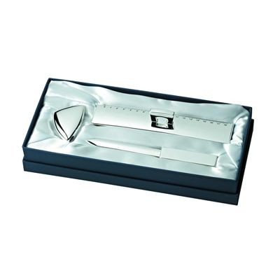Picture of LETTER OPENER, PENCIL SHARPENER & RULER GIFT SET in Silver