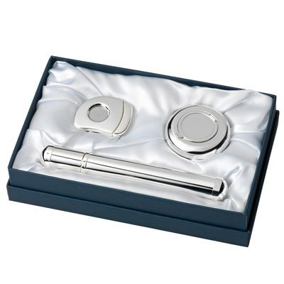 Picture of METAL CIGAR CASE, CIGAR CUTTER & ASH TRAY GIFT SET in Silver
