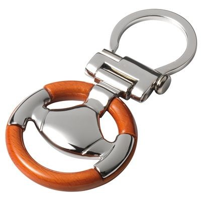 Picture of STEERING WHEEL KEYRING in Wood & Metal