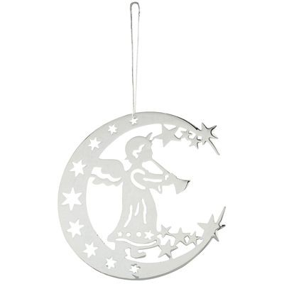 Picture of ANGEL & MOON PENDANT DECORATION in Silver Metal