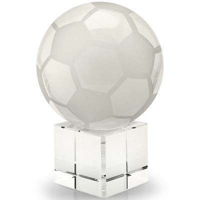 Picture of BALL AND BASE WHITE GLASS FOOTBALL PAPERWEIGHT