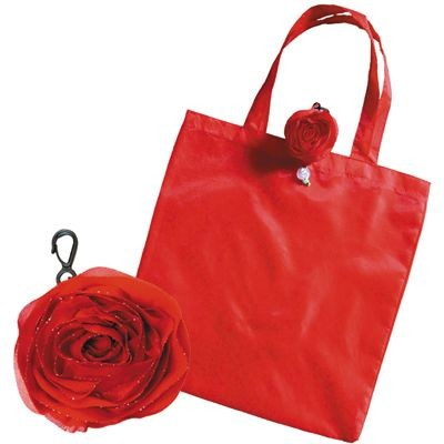 Picture of FOLDING SHOPPER TOTE BAG in Red with Rose Bag Holder