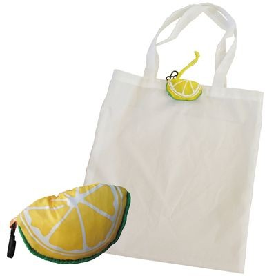 Picture of FOLDING SHOPPER TOTE BAG in White with Lemon Bag Holder