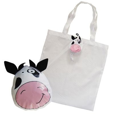 Picture of FOLDING SHOPPER TOTE BAG in White with Cow Bag Holder