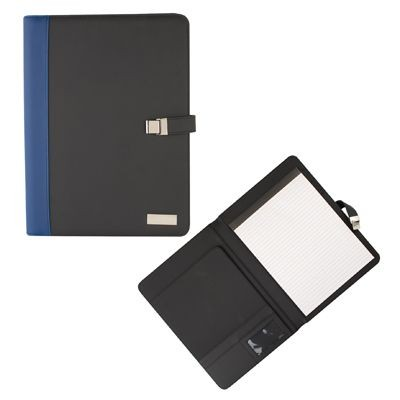 Picture of PU CONFERENCE FOLDER in Blue & Black with Metal Plate for Engraving