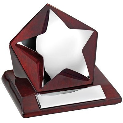 Picture of SILVER STAR TROPHY AWARD with Rectangular Wood Base in Luxury Box