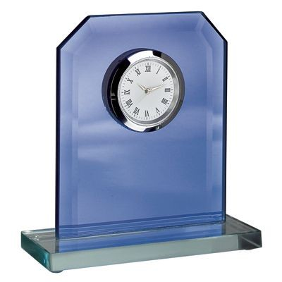 Picture of TROPHY AWARD CLOCK in Blue Glass with White Base