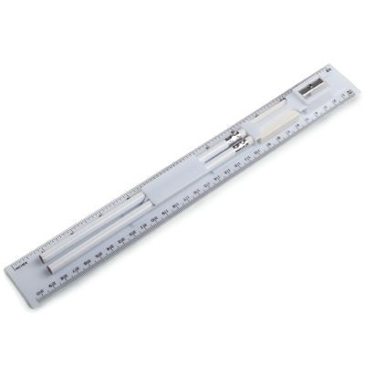 Picture of WHITE PLASTIC RULER with Stationery