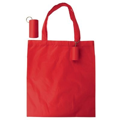 Picture of FOLDING SHOPPER TOTE BAG KEYRING in Red