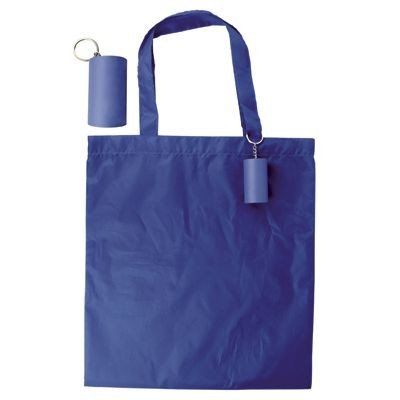 Picture of FOLDING SHOPPER TOTE BAG KEYRING in Blue